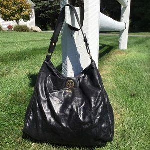 Tory Burch Black Leather Hobo Shoulder Bag